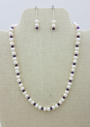 necklace & earrings - Very Nice White Freshwater Pearls, Amethyst Rondelles and Sterling Silver