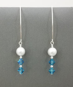 Indicolite crystals & dove grey crystal pearls on sterling silver long fish hook earrings