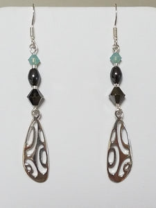 Aqua Crystal & Hematite w/Sterling Silver Radiolarian Earrings
