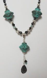 Antique Aqua Ceramic 'Tops' w/Crystal & Hematite Necklace