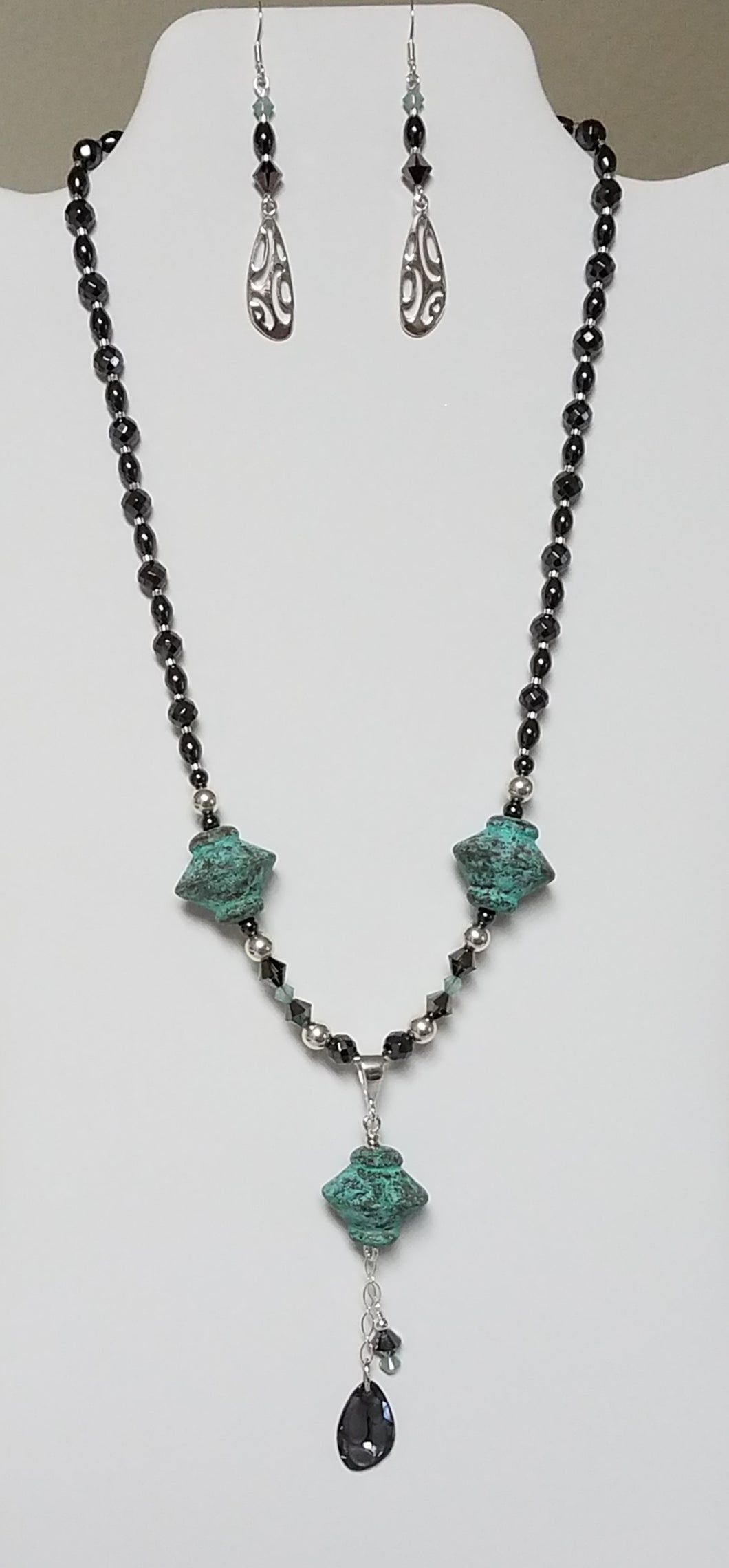 Antique Aqua Ceramic 'Tops' w/Crystal & Hematite Necklace & Earrings