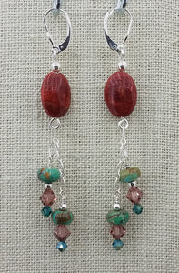 Turquoise Rondelles & Sponge Coral Lever Back Earrings