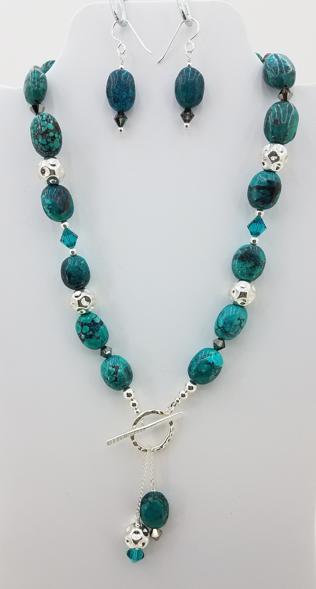 Turquoise & Sterling Silver Toggle Front Necklace & Fish Hook Earrings