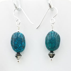 Turquoise & Sterling Silver Fish Hook Earrings