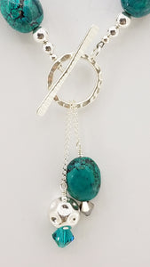Turquoise & Sterling Silver Toggle Front Necklace
