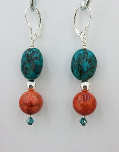 Turquoise Nuggets & Sponge Coral Lever Back Earrings