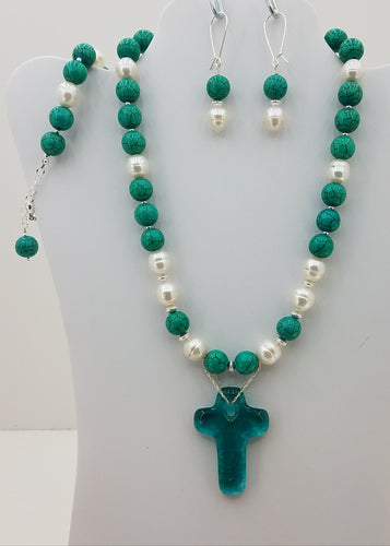 Turquoise Howlite & Freshwater Baroque Pearls w/Fused Glass Cross Necklace, Bracelet, & Long Kidney Earrings