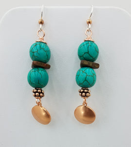 Turquoise Howlite & Copper Earrings