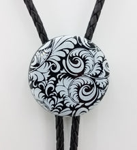 Bolo Tie - Black Disk w/White Flourish Fused Glass