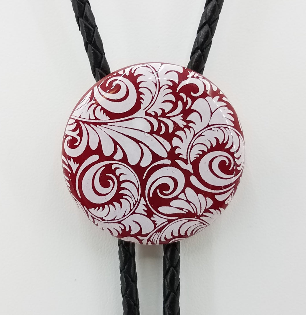 Bolo Tie - Red Disk w/White Flourish Fused Glass