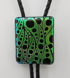 Bolo Tie - Green & Black Dichroic w/Geometric Leaves Fused Glass