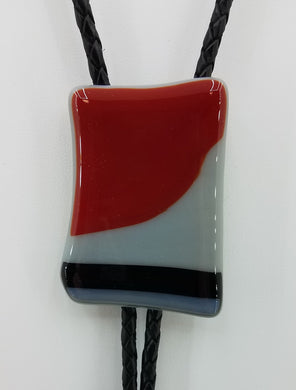 Bolo Tie - Red & Black on Light Grey - Go Tech! Fused Glass
