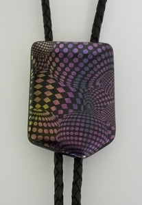 Bolo Tie - Dichroic Multi-colored Geometric Patterns Fused Glass