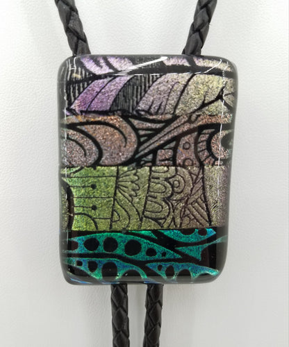 Bolo Tie - Dichroic Strips  of Multiple colors Fused Glass