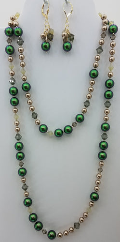 Scarabeous Green & Bronze Swarovski w/Swarovski Crystsls Necklace & Earrings