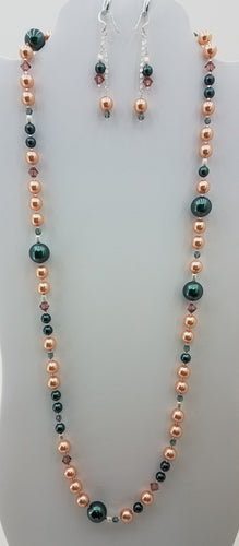 Rose Peach & Tahitian Blue Swarovski w/Swarovski Crystsls Necklace & Earrings