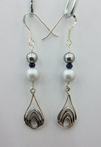 Grey Swarovski Pearls & Sapphire Stones Earrings