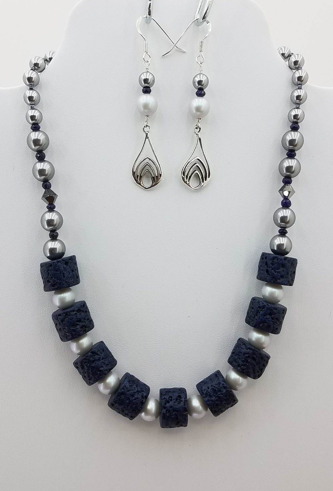 Indigo Blue Ceramic Beads with Grey Swarovski Pearls & Crystals Necklace & Earrings