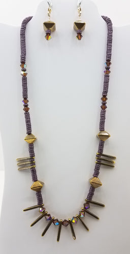 Ceramic Mauve & Bronze w/Spikes  &  Swarovski Crystals Necklace & Earrings