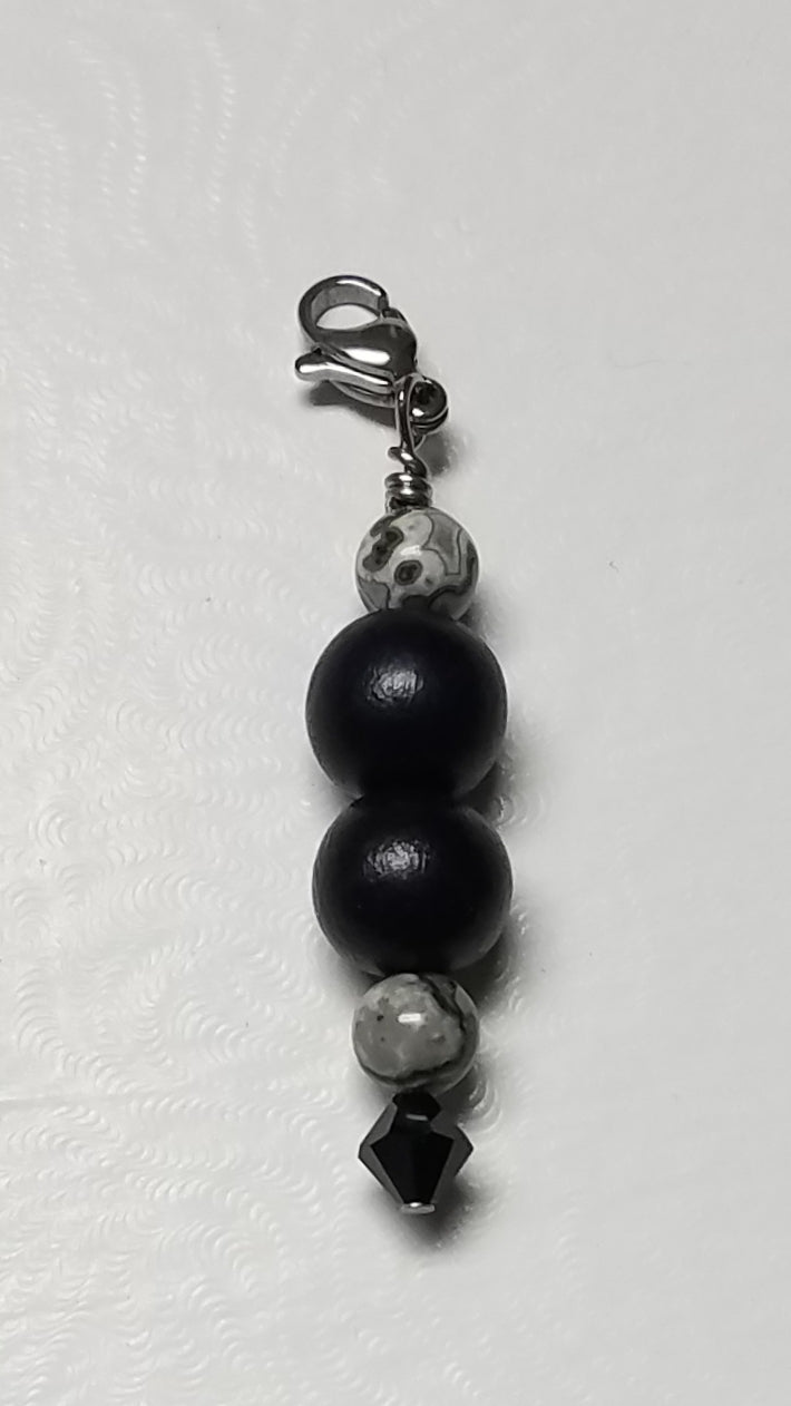 Fancy Zipper Pull - Black Wood & Grey Picture Jasper w/Swarovski Crystal