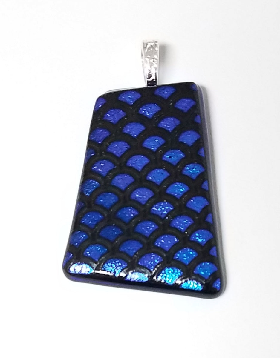 Geometric Fans of Blue on Black Dichroic Fused Glass Pendant