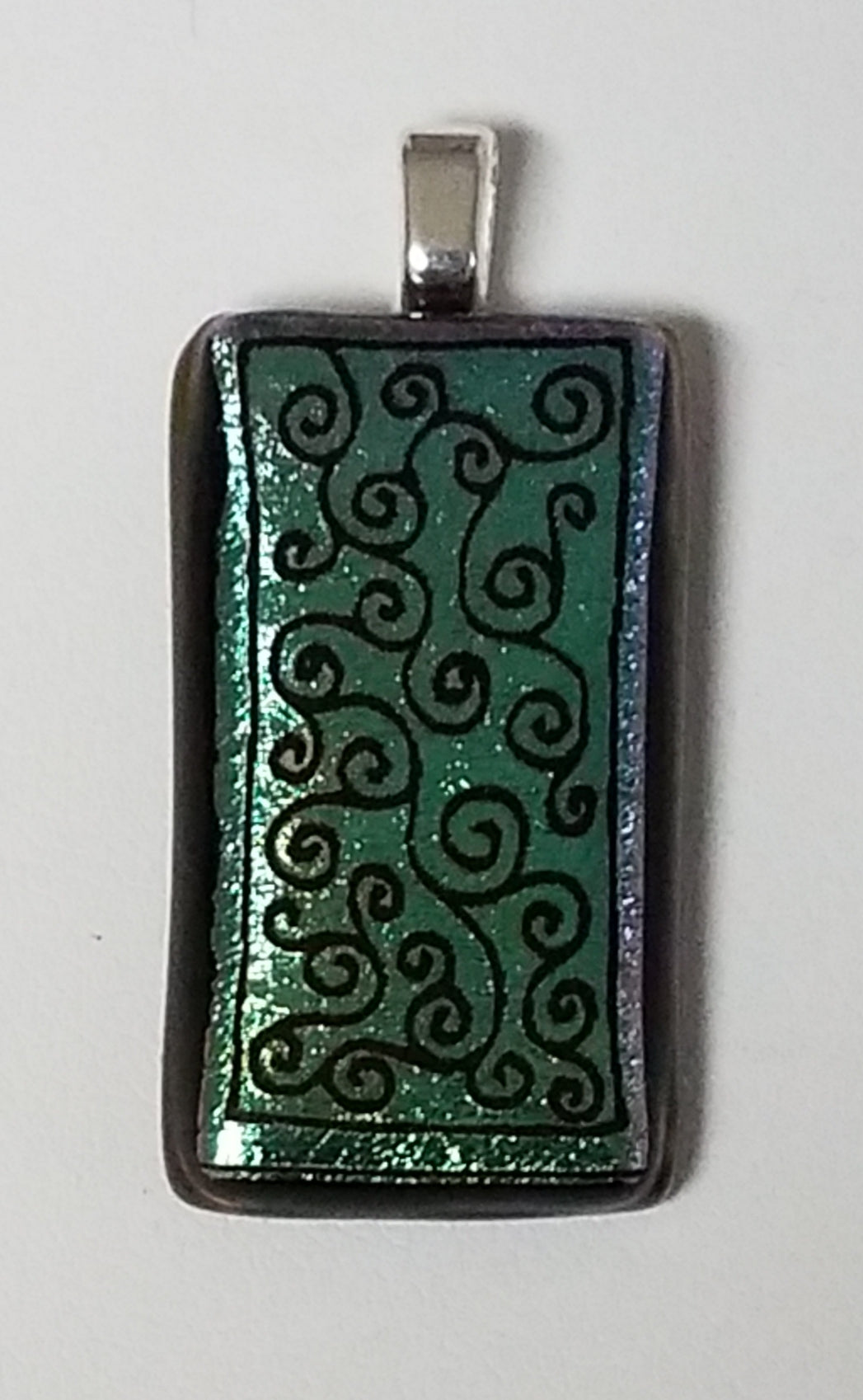 Black Swirls Etched on Forest Green Dichroic Fused Glass Pendant