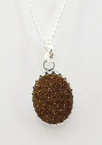 Rust colored druzy stone on sterling silver chain