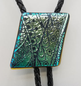 Bolo Tie -Green/Gold w/Etched Tribal Design Dichroic Fused Glass