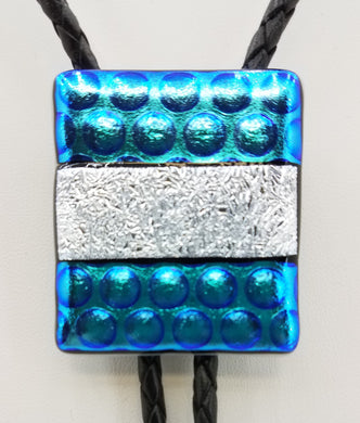 Bolo Tie -Teal & Silver Dichroic Fused Glass