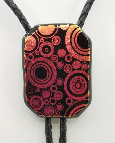Bolo Tie -Red/Gold Bubbles Dichroic Fused Glass
