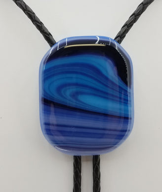 Bolo Tie -Blue 'Marble' Fused Glass
