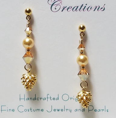 24k gold plated pine cone and crystal & crystal pearl long earrings