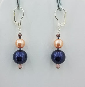 A lightweight and long combination of Crystals & Crystal Pearls in night blue, peach, & brown velvet,  & Sterling Silver Earrings