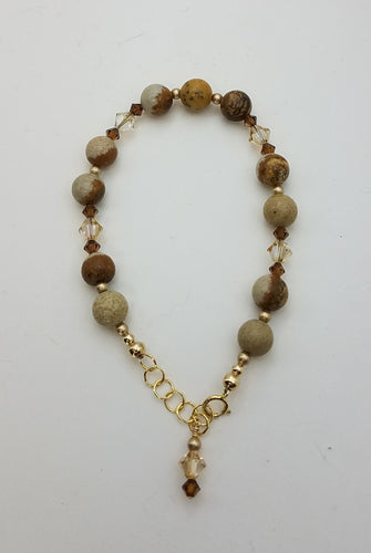 bracelet of picture jasper and Swarovski crystals