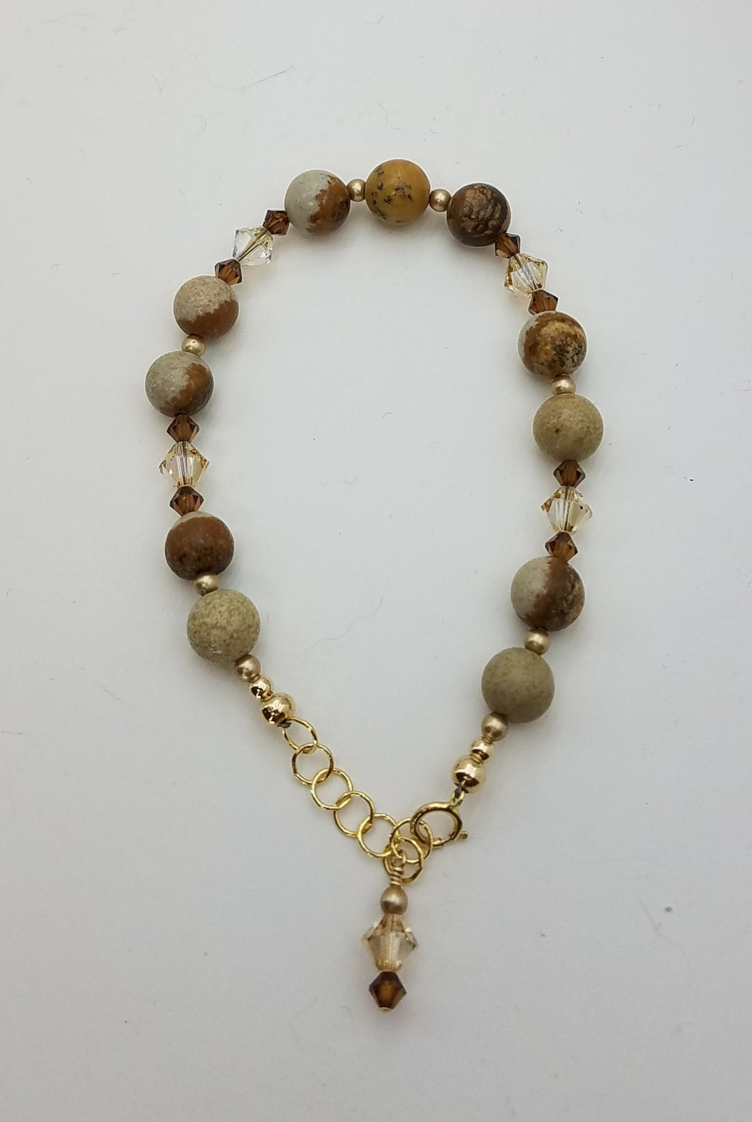 bracelet of picture jasper and crystals
