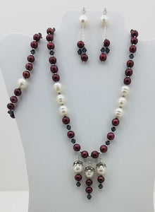 Red Plum & White Baroque Freshwater Pearls Necklace, Bracelet, & Earrings