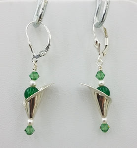 The earrings feature cute sterling silver 'tulips' and green crystals.