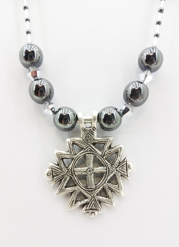 Ancient Cross on Hematite & Swarovski Crystal Necklace