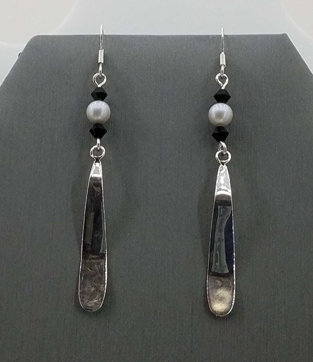 Sterling Silver Wavy Blades with Black  Crystals & Dove Grey Crystal Pearls