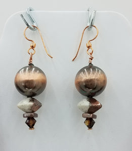 Fun copper plated ceramic raku octahedrons, and steampunk beads, copper plated resin balls, and copper findings earrings