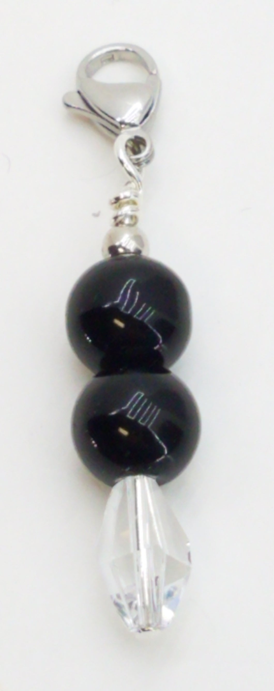 Fancy Zipper Pull - Black Acrylic & Polygon Swarovski - 2 1/8