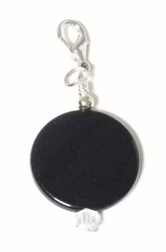 Fancy Zipper Pull - Black Acrylic Coin - 2 1/4