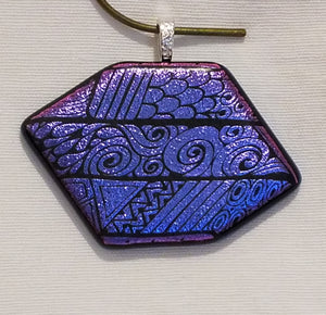 Amethyst/Purple Etched Dichroic Fused Glass Pendant