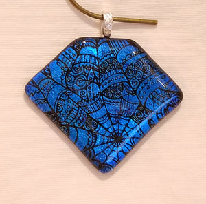 Clear Capped Brilliant Ocean Blue Dichroic Fused Glass Pendant