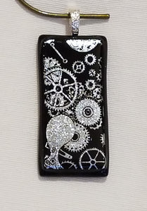 Silver Sparkles of Gears on Black Dichroic Fused Glass Pendant