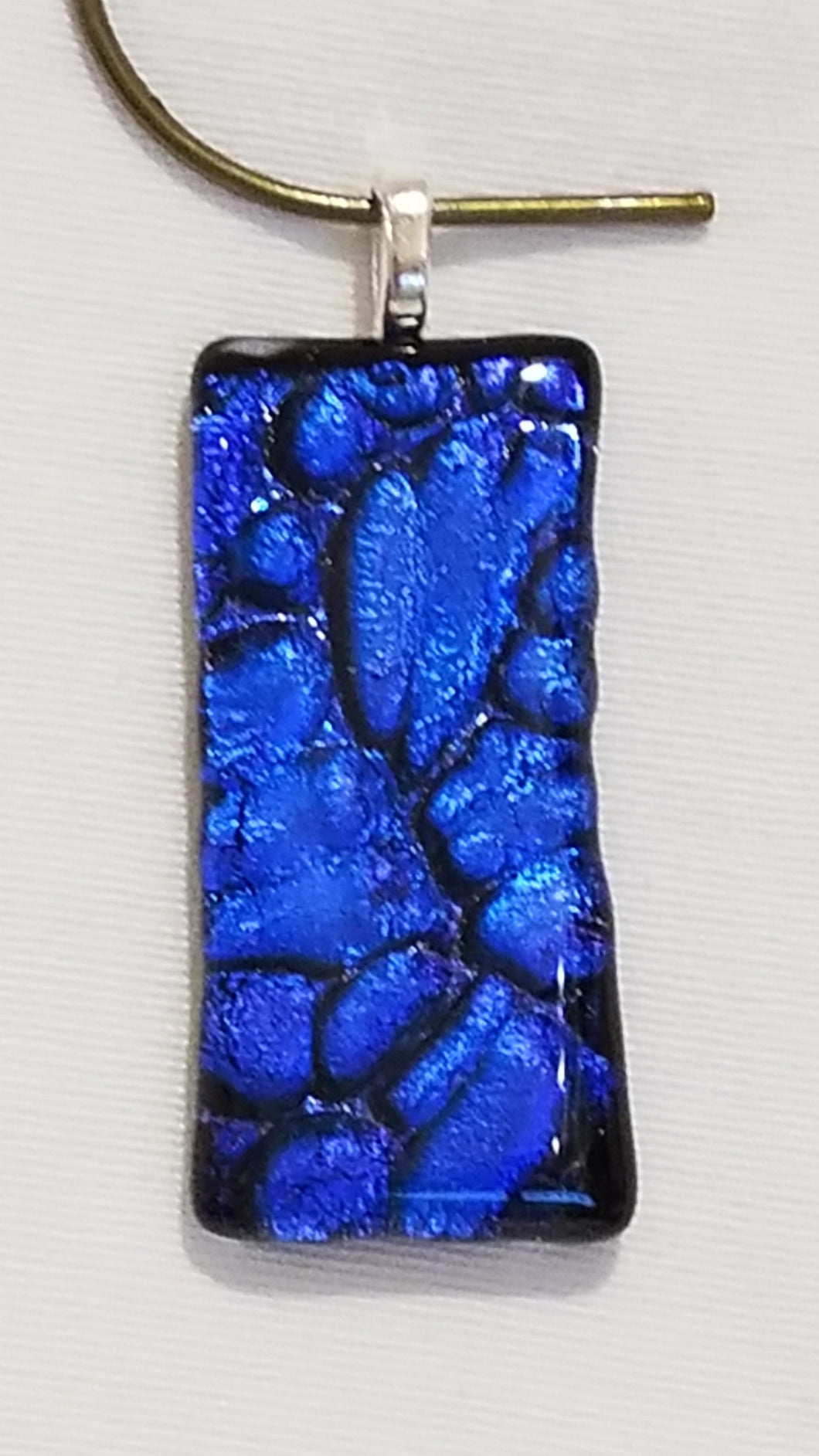 Clear Capped Blue/Purple 'Lava' Textured Dichroic Fused Glass Pendant