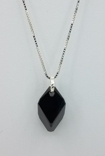 Large Black crystal cube Pendant on a Sterling Silver chain. Lobster Clasp