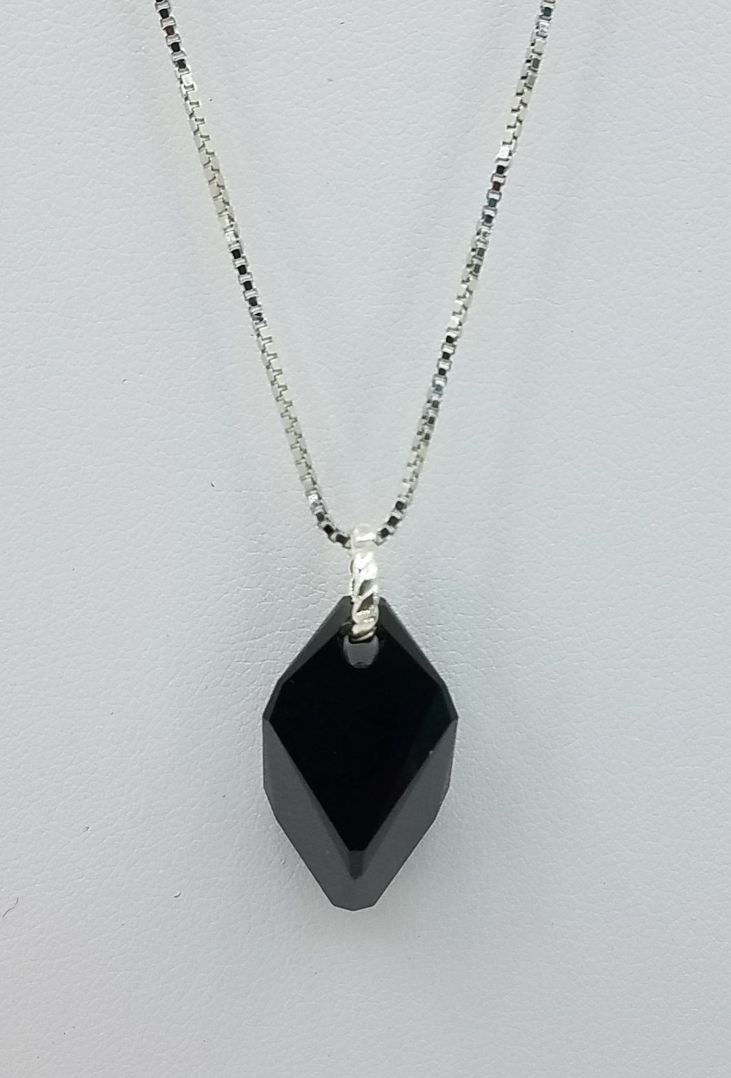 Large Black Swarovski Cubist Pendant on a Sterling Silver chain. Lobster Clasp