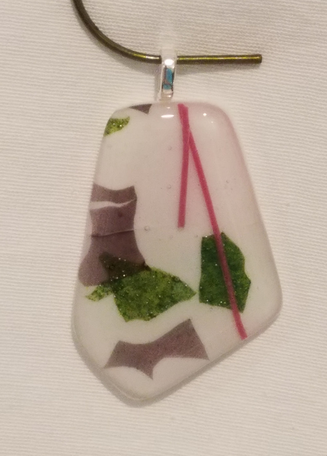 Green, Mauve, & Pink on White Fused Glass Pendant
