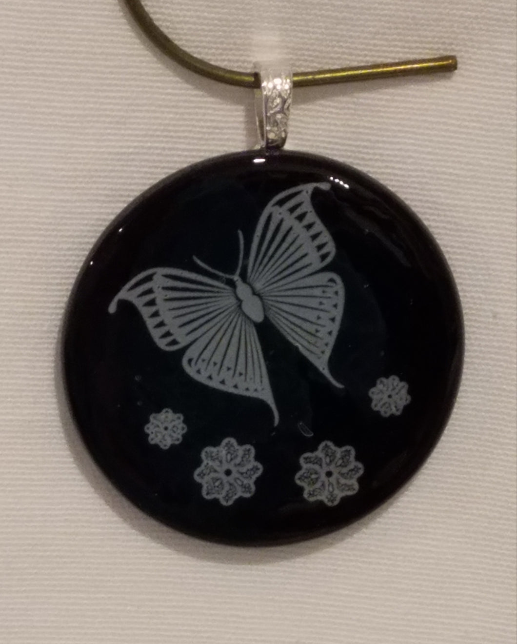 White Butterfly on Black Round Fused Glass Pendant